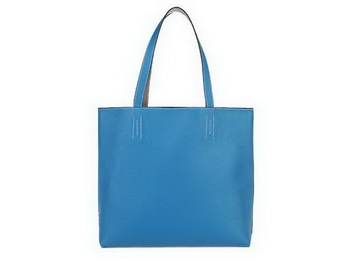 Hermes Shopping Bag 36CM Totes Clemence Leather Blue
