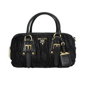 Prada Gaufre Fabric Top Handle Bag BL0800 Black