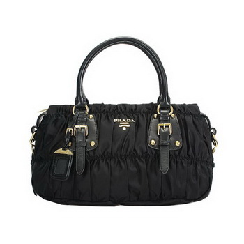 Prada Gaufre Fabric Top Handle Bag BN1407 Black