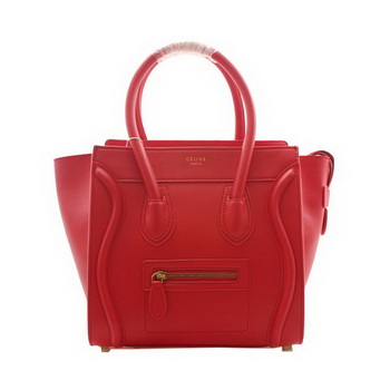 Celine Luggage Micro Boston Bag Clemence Leather Red