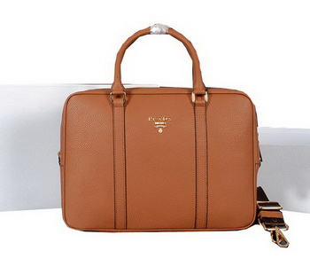 Prada Grainy Calf Leather Briefcase 80661 Wheat