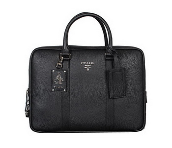 Prada Grainy Calf Leather Briefcase VA0089 Black
