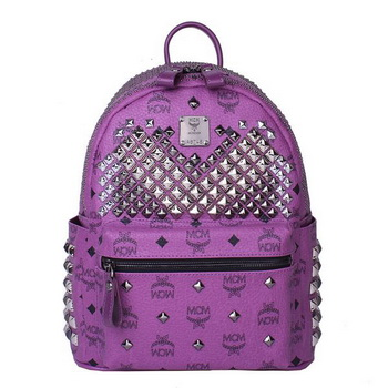 MCM Small Stark Front Studs Backpack MC4237S Purple