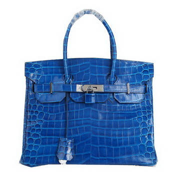 Hermes Birkin 30CM Tote Bags Blue Iridescent Croco Leather Silver