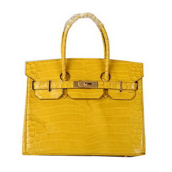 Hermes Birkin 30CM Tote Bags Yellow Iridescent Croco Leather Gold