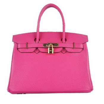Hermes Birkin 30CM Tote Bags Light Rosy Grainy Leather Gold