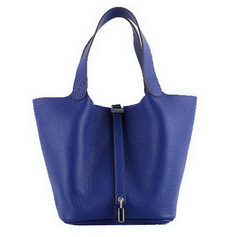 Hermes Picotin Lock MM Bags Clemence Leather H8616 Blue