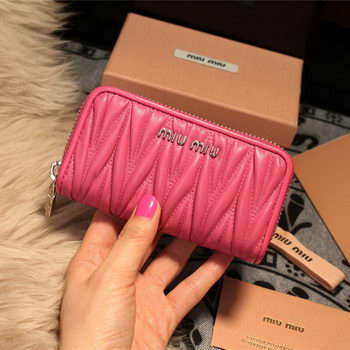 miu miu Matelasse Nappa Leather Keychain M1038 Rose
