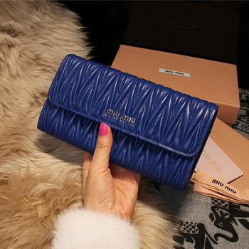 miu miu Matelasse Shiny Calf Leather Wallet 5M1035 Royal