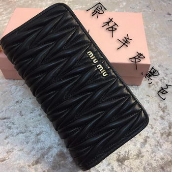 miu miu Matelasse Nappa Leather Wallet MM30150 Black