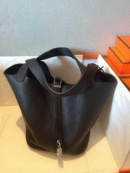 Hermes Picotin Lock 22cm Bags Litchi Leather HPT22 Black