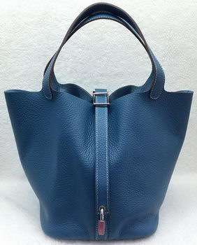 Hermes Picotin Lock 22cm Bags Litchi Leather HPL1048 Blue