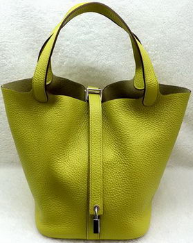 Hermes Picotin Lock 22cm Bags Litchi Leather HPL1048 Lemon