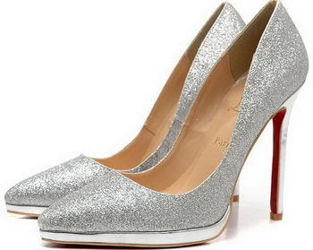 Christian Louboutin 120mm Pump Patent Leather CL1502 Silver