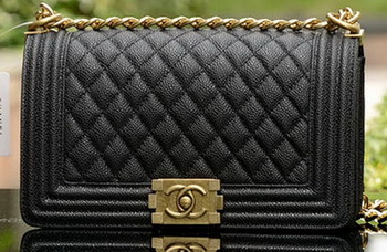 Boy Chanel Flap Shoulder Bags Black Cannage Pattern Leather A67086 Brass