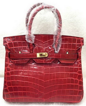 Hermes Birkin 25CM Tote Bag Croco Leather H25TCO Red