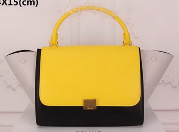 Celine Trapeze Bag Original Suede Leather CT3342 Yellow&Black&White