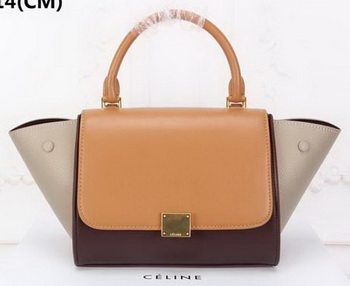 Celine mini Trapeze Bag Original Nubuck Leather CTA3345 Wheat&Brown&Apricot