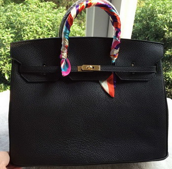 Hermes Birkin 40CM Bag Black Litchi Leather BK40 Gold