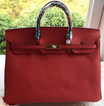 Hermes Birkin 40CM Bag Red Litchi Leather BK40 Gold