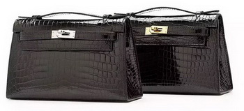 Hermes MINI Kelly 22cm Clutch Croco Leather KL22 Black
