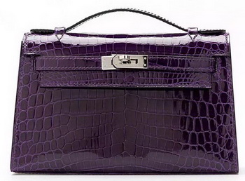 Hermes MINI Kelly 22cm Clutch Croco Leather KL22 Purple