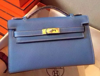 Hermes MINI Kelly 22cm Tote Bag Calfskin Leather K22 SkyBlue