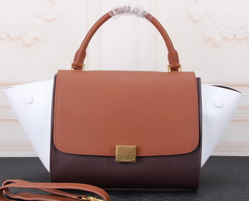 Celine mini Trapeze Bag Original Calfskin Leather CTA3345 Wheat&Burgundy&White