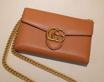 Gucci GG Marmont Leather mini Chain Bag 401232 Wheat