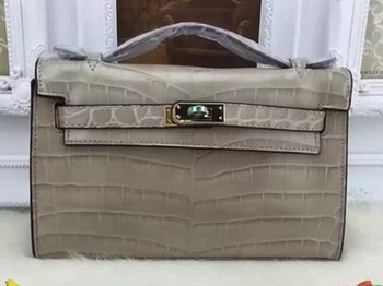Hermes MINI Kelly 22cm Tote Bag Croco Leather KL22 Grey