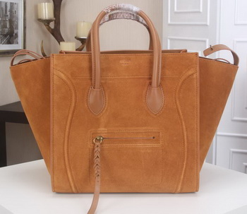 Celine Luggage Phantom Tote Bag Suede Leather CT3341 Wheat