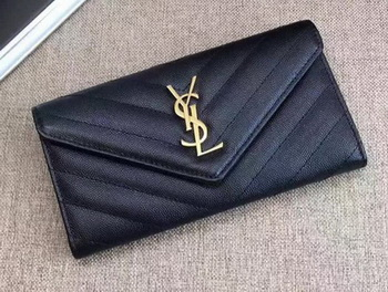 Yves Saint Laurent Monogramme Calfskin Leather Flap Wallet Y38202 Black