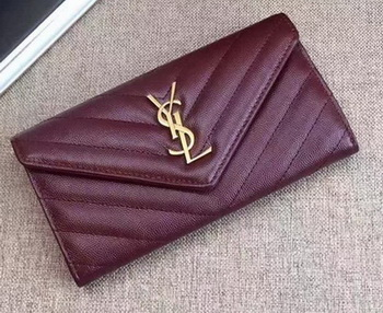 Yves Saint Laurent Monogramme Calfskin Leather Flap Wallet Y38202 Wine