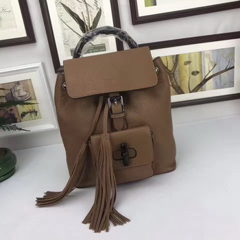 GUCCI Calfskin Leather Backpack 387149 Brown