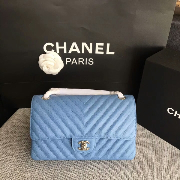 Chanel Flap Shoulder Bags Skyblue Original Calfskin Leather CF1112 Silver