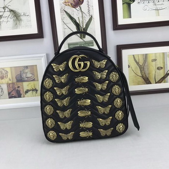 Gucci GG Marmont Animal Studs Leather Backpack 476671 Black