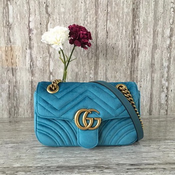 Gucci GG Marmont Chevron Velvet mini Bag 446744 Blue