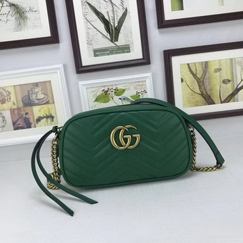 Gucci GG Marmont Matelasse Leather Shoulder Bag 447632 Green