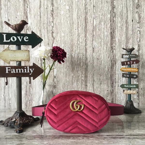 Gucci GG Marmont Velvet Belt Bag 476434 Rose