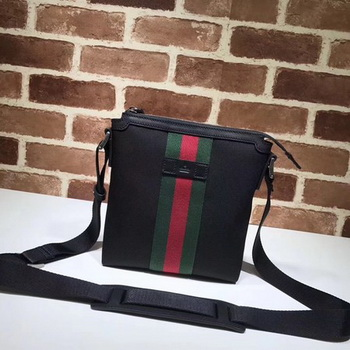 Gucci Web GG Supreme Flat Messenger Bag ‎471454 Black