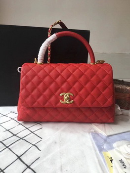Chanel Classic Red Top Handle Bag Red Original Leather A92292 Gold