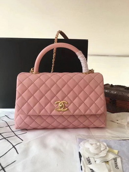 Chanel Classic Top Handle Bag Pink Original Leather A92292 Gold