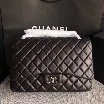 Chanel Maxi Quilted Classic Flap Bag Black Sheepskin Leather A58601 Silver