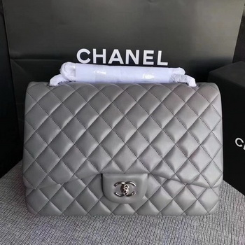 Chanel Maxi Quilted Classic Flap Bag Grey Sheepskin Leather A58601 Silver
