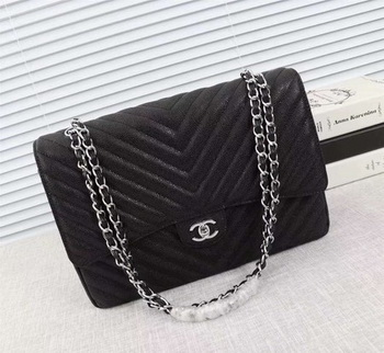 Chanel Maxi Quilted Classic Flap Bag Black Chevron Cannage Pattern A58601 Silver