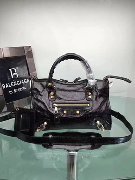 Balenciaga Giant City Gold Studs Handbag 084333 Black