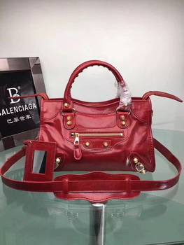 Balenciaga Giant City Gold Studs Handbag 084333 Red