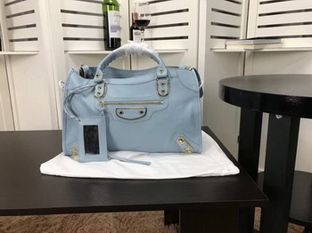 Balenciaga Giant City Gold Studs Handbag B084334 Light Blue