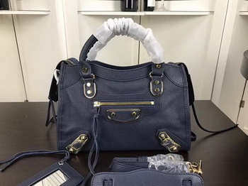 Balenciaga Giant City Gold Studs Handbag B084335 Blue