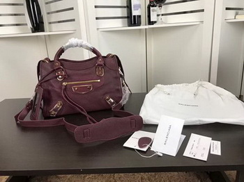 Balenciaga Giant City Gold Studs Handbag B084335 Wine